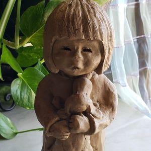Other - Vintage Handmade Clay Sculpture Little Girl 1973